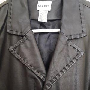 Chico's Jackets & Coats - Chico's Black Pleather Jacket